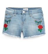 Hudson Girl's Flower Field Embroidered Denim Shorts