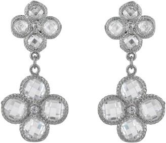 Latelita Flower Clover Double Drop Earrings Silver