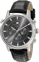 Tommy Hilfiger Men's 1790875 Sport Luxury Multi-Function Grey Dial Black Croco Leather Watch