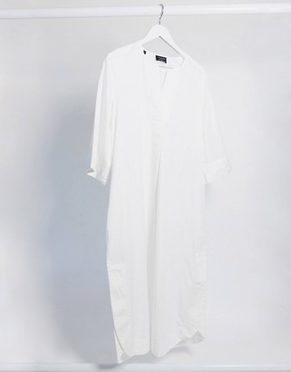 Selected midi t-shirt dress with notch detail in white