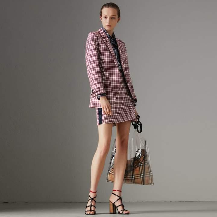 Burberry Stripe Detail Check Cotton Mini Skirt , Size: 10