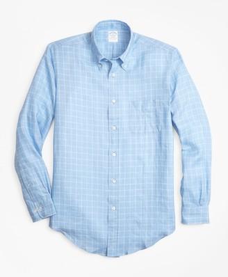 Brooks Brothers Regent Fit Windowpane Irish Linen Sport Shirt