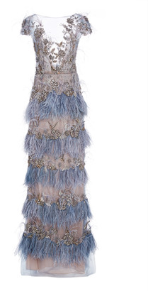 Marchesa Beaded-Embellished Organza Gown