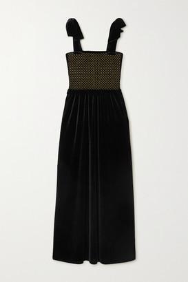 Loretta Caponi Laudomia Bow-detailed Smocked Stretch-velvet Maxi Dress - Black