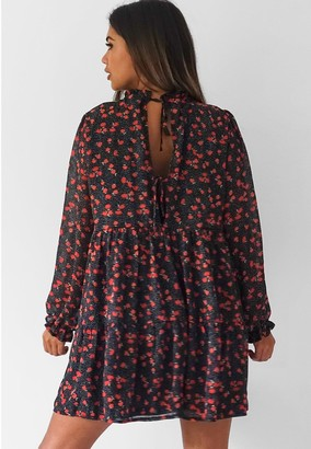 Missguided FloralHigh Neck Tier Long SleeveSmock Dress - Black