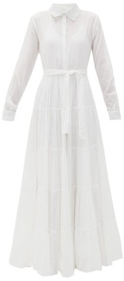 Mes Demoiselles Calam Belted Cotton-voile Maxi Dress - Womens - White