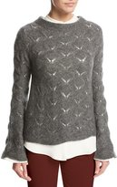 Loro Piana Convent Garden Lace Cashmere-Silk Sweater, Gray