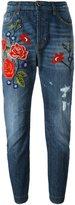 Twin-Set rose embroidery boyfriend jeans