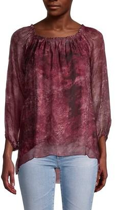 Le Marais Dark Floral Silk Blouse