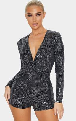 PrettyLittleThing Silver Sequin Twist Front Long Sleeve Playsuit