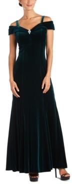R & M Richards Petite Off-The-Shoulder Velvet Gown
