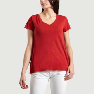 American Vintage Red Cotton and Viscose Jacksonville V-neck T-shirt - cotton | red pepper | small