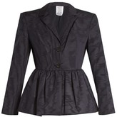Rosie Assoulin Peplum-hem Silk And Wool-blend Moire Jacket - Womens - Navy