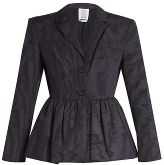 Rosie Assoulin Peplum-hem Silk And Wool-blend Moire Jacket - Womens - Navy