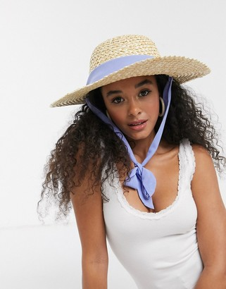 ASOS DESIGN structured floppy hat in natural straw with removable ties