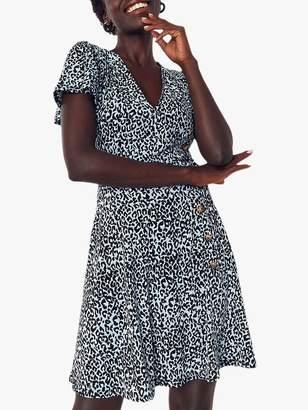 Oasis Leopard Button Dress, Multi Blue