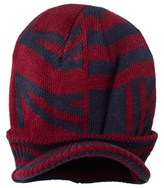 Ikks Burgundy Knit Peaked Hat with Teddy Lining