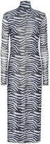 STAUD Brae zebra-striped midi dress