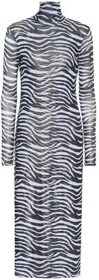 STAUD Brae zebra-striped midi dress