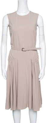 Ralph Lauren Brown Wool Gathered Belted Louisa Dress S