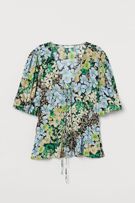 H&M Puff-sleeved Blouse - Green
