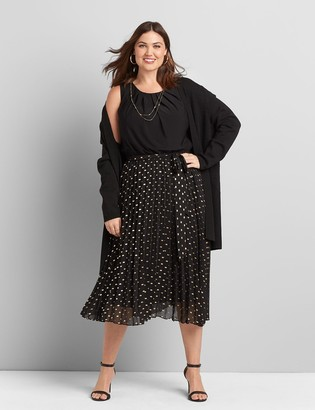 Lane Bryant Belted & Pleated Midi Dress