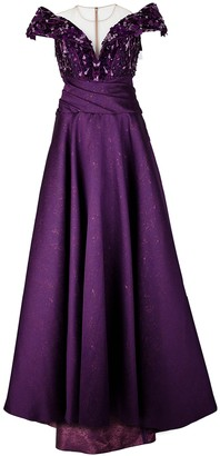 Pamella Roland Purple embellished jacquard gown