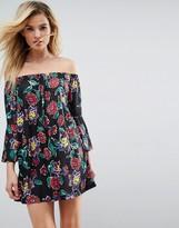 Asos Design Off Shoulder Mini Dress with Trumpet Sleeve in Black Floral Print