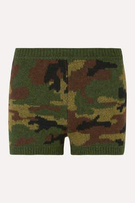 Miu Miu Camouflage-intarsia Wool Shorts - Army green