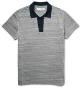 Orlebar Brown Felix Mélange Cotton-piqué Polo Shirt - Navy