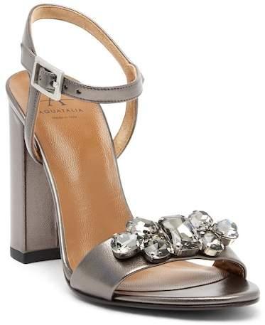 Aquatalia Simone Metallic Leather Block Heel Sandal