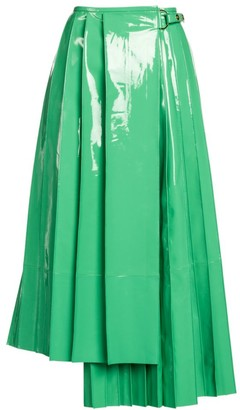 Fendi Patent Leather Pleated Asymmetric Midi Skirt