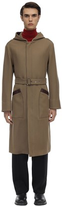 Salvatore Ferragamo Hooded Nylon & Virgin Wool Trench Coat