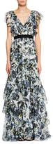 Erdem Perry Ruffled Floral Silk Gown