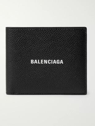 Balenciaga Logo-Print Full-Grain Leather Billfold Wallet