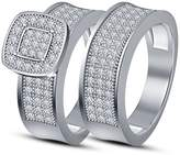 TVS-JEWELS 925 Sterling Silver Round Cut CZ Bridal Engagement Wedding Ring Set For Women's (5.75)
