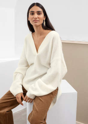And other stories Oversized V-Neck Alpaca Blend Sweater