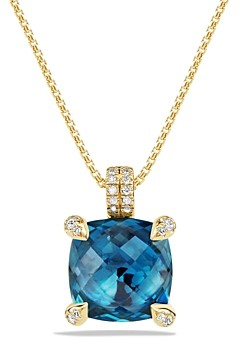 David Yurman Chatelaine Pendant Necklace with Hampton Blue Topaz and Diamonds in 18K Gold