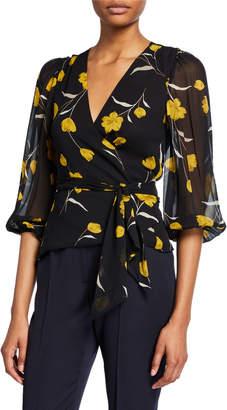 Joie Laraine Floral Silk Wrap Top