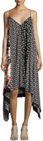 Rag & Bone Londar Floral-Print Sleeveless Handkerchief-Hem Dress, Black