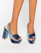 Daisy Street Blue Crushed Velvet Platform Heeled Sandals