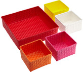 Container Store Color Block Bins Red Set of 5