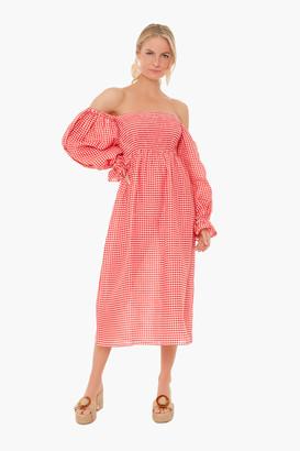 Sleeper Red Gingham Atlanta Linen Dress
