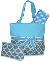Ever Moda Blue Grey Quaterfoil Quilted Diaper Bag with Change Pad