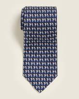 Salvatore Ferragamo Navy Dog Print Tie
