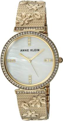 Anne Klein Women's AK/3146MPGB Swarovski Crystal Accented Gold-Tone Textured Bangle Watch