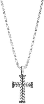 David Yurman Pave Black Diamond & Sterling Silver Cross Pendant