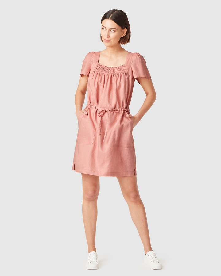 French Connection Women's Dresses - Linen Shirred Dress - Size One Size, 8 at The Iconic