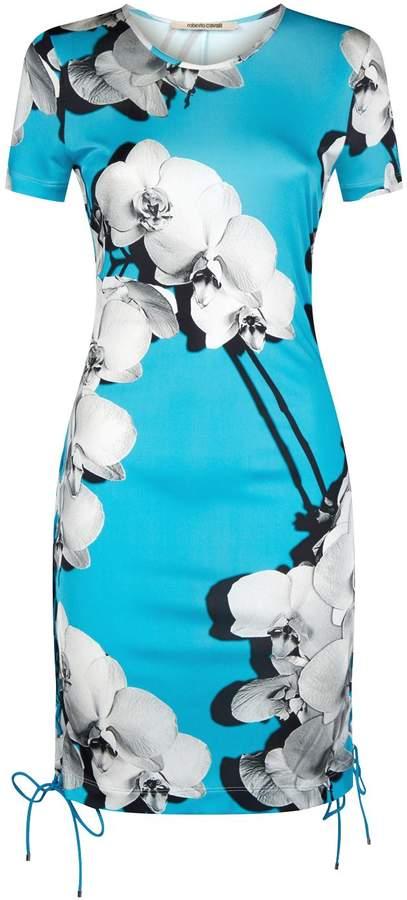 Roberto Cavalli Orchid Print Mini Dress