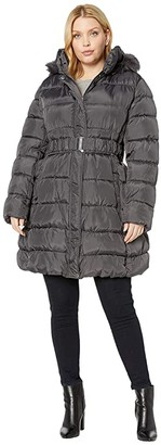 Via Spiga Plus Size 3/4 Belted Ruched Puffer (Black) Women's Clothing